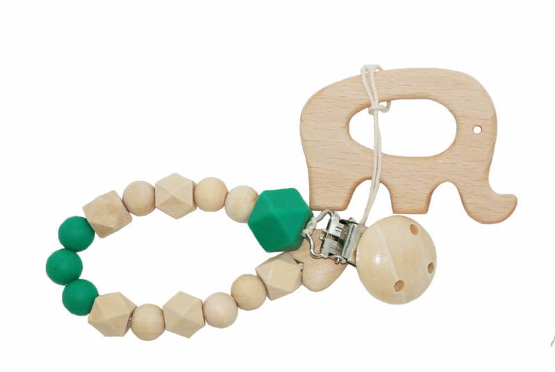 Baby teething string with clip wood