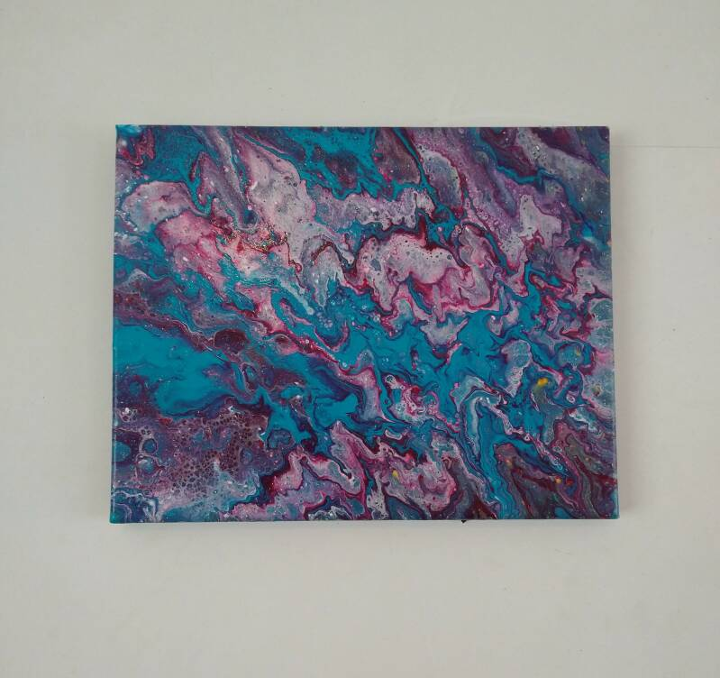 Pink and blue pouring