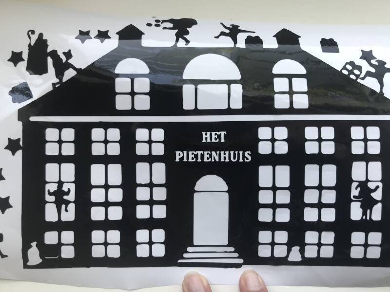 Pietenschool herbruikbaar raam folie , sticker