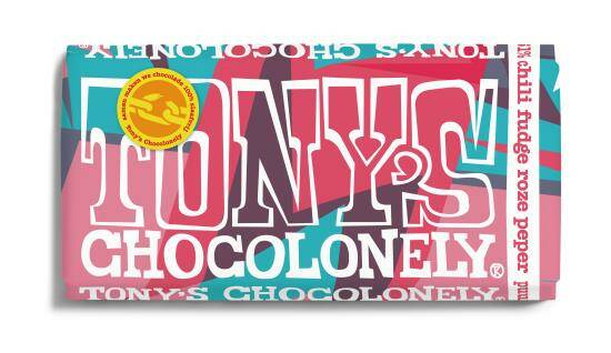 Tony's Chocolonely LIMITED: puur chili fudge roze peper