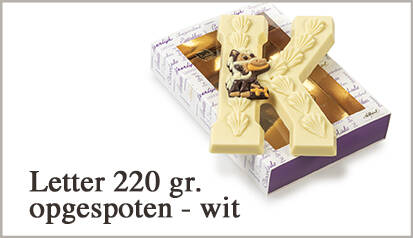Luxe chocoladeletter W wit