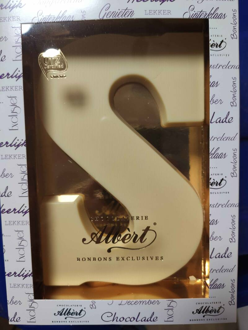 Chocolade letter wit S