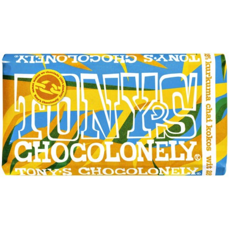 Tony's Chocolonely LIMITED: wit kurkuma chai kokos