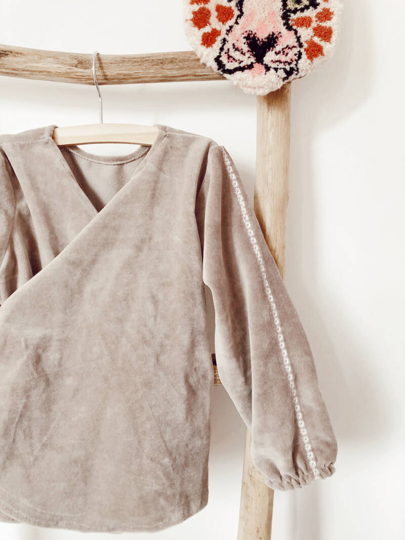 Embroidered soft taupe wrapvest