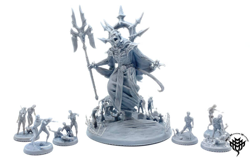 Giant lich and zombies