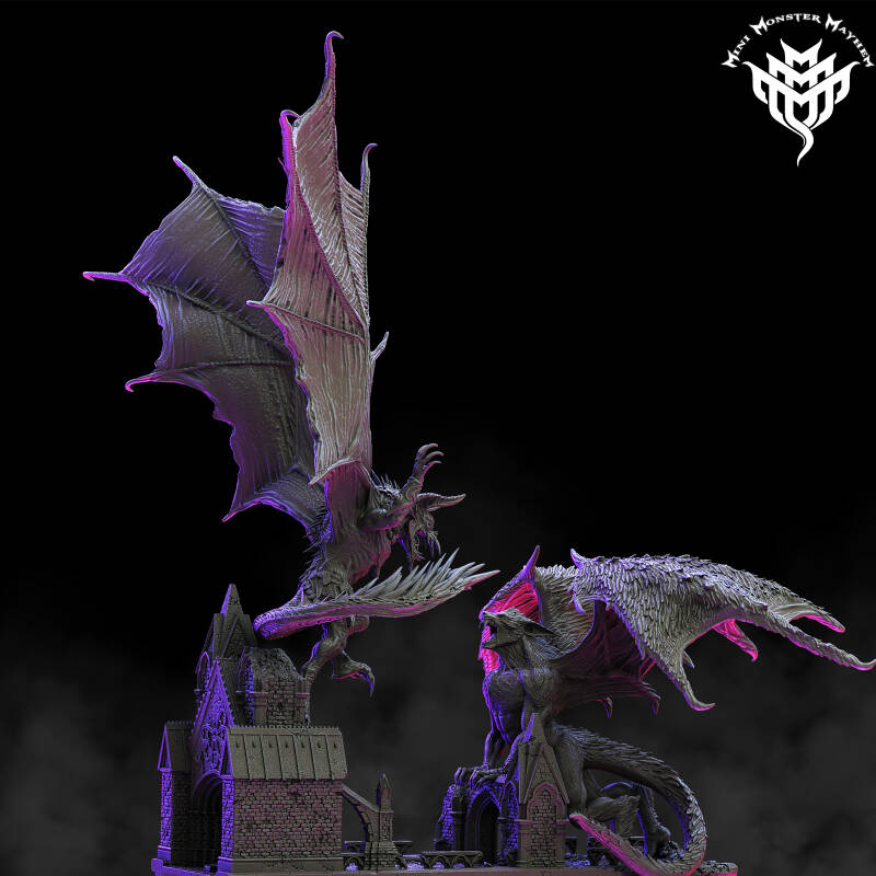 Vampire Dragon and Werewolf Dragon Diorama
