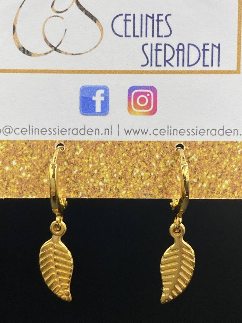"Oorbellen ""Feather"" goud"