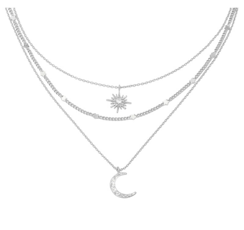 "Ketting ""Chained Star & Moon"" zilver"