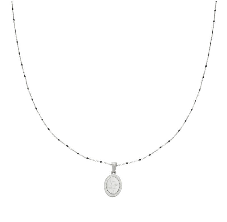 """Ketting """"Live Life"""" zilver"""