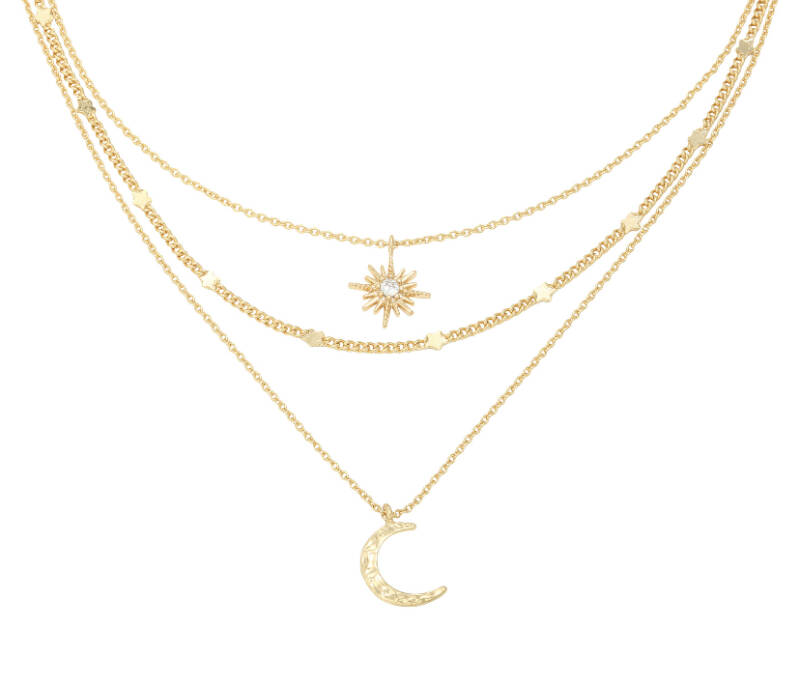 "Ketting ""Chained Star & Moon"" goud"