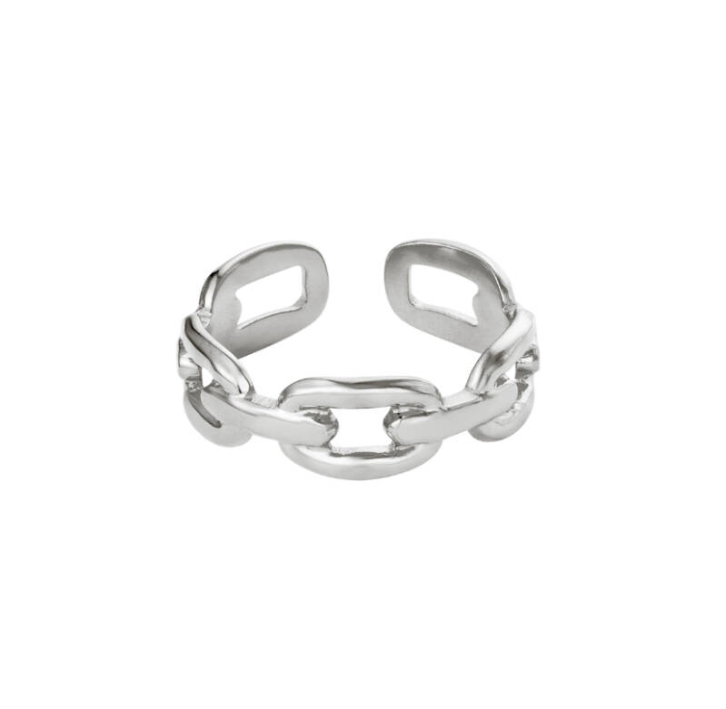 """Ring """"Oval Chain"""" zilver"""