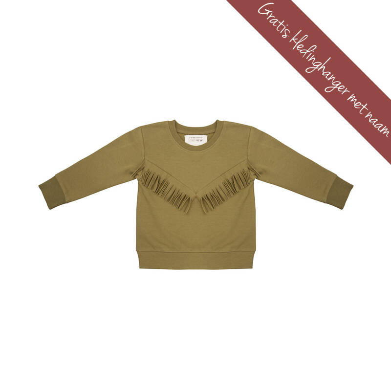 Little Indians • boho sweater • olijf