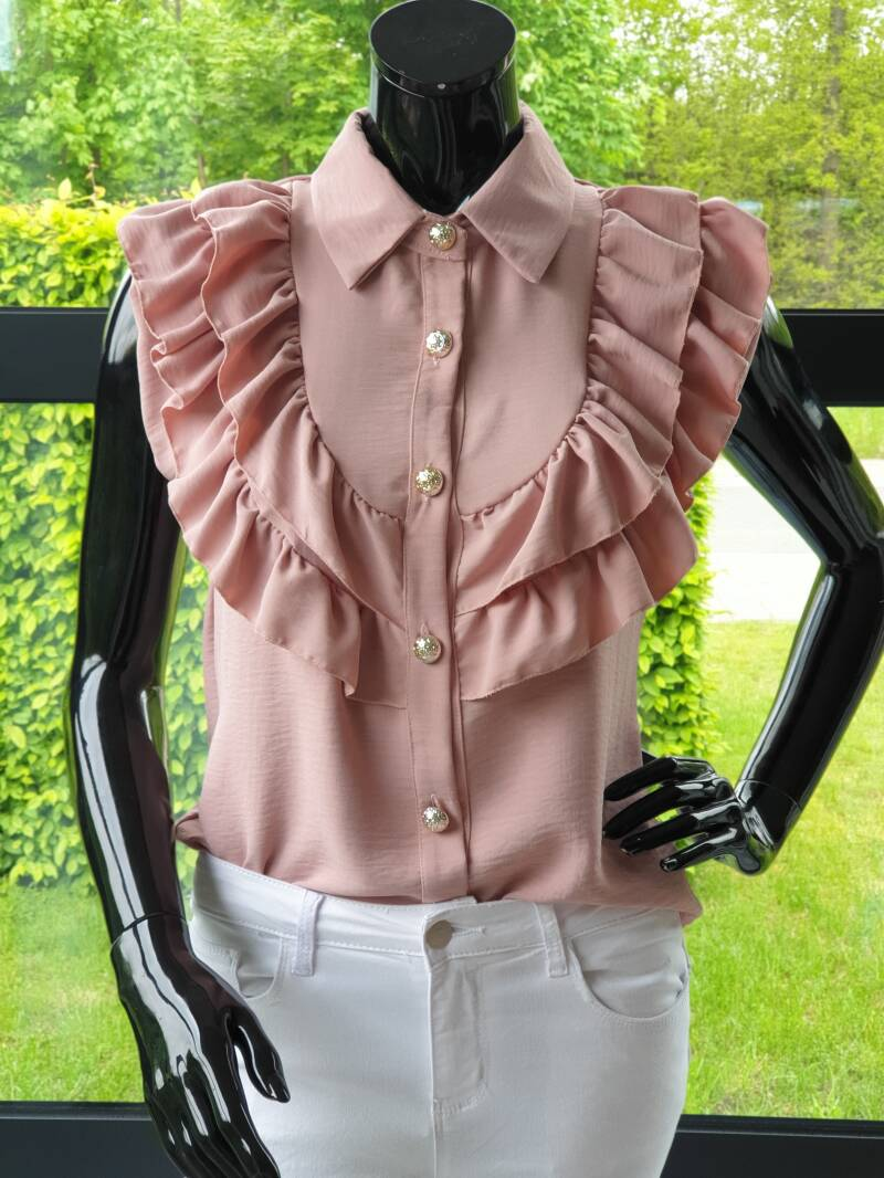 mooie oudroze blouse met ruches      Zomercollectie 2021