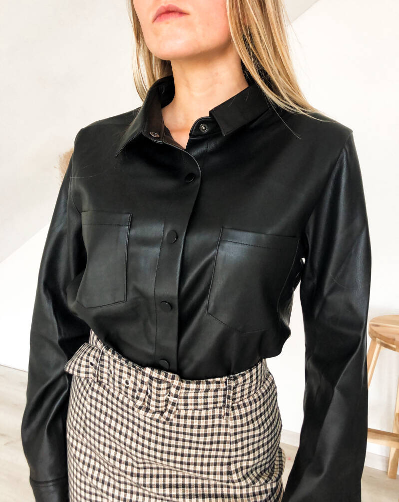 Leather look blouse