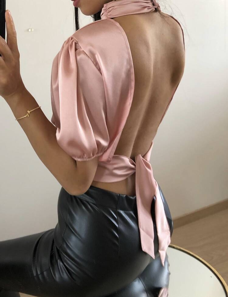 Satin open back top - Pink