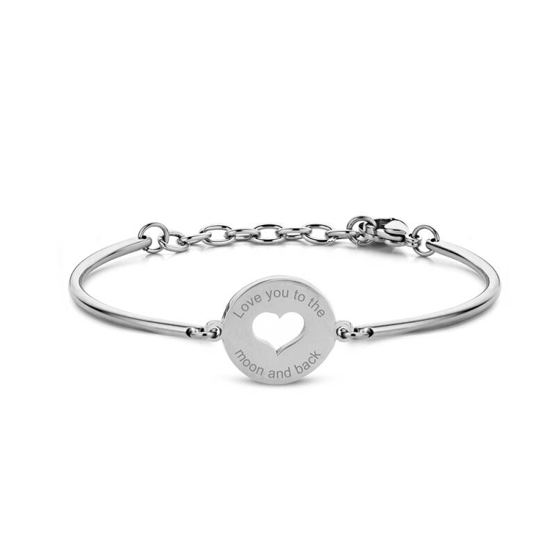 Nieuw! CO88 Stainless Steel Bracelet with Heart and Text Pendant 8CB-90334