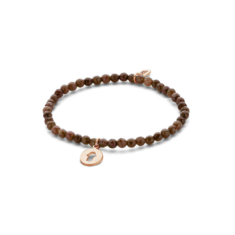 Brown Natural Stones Bracelet with Hand of Fatima Pendant 8CB-90168