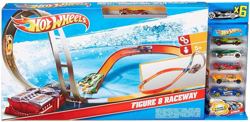 Hot Wheels Figure 8 Raceway met 6 Auto's - Racebaan