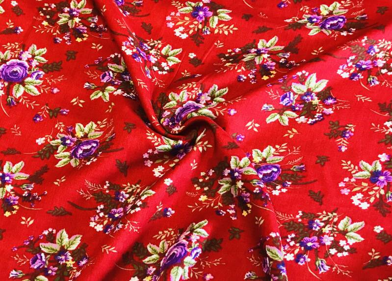 Viscose twill print red ferrari