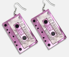 Pink Vintage Cassette Earrings