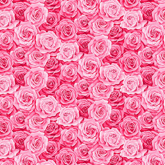 Q38 - stof Pink Packed Rose  - by Makower