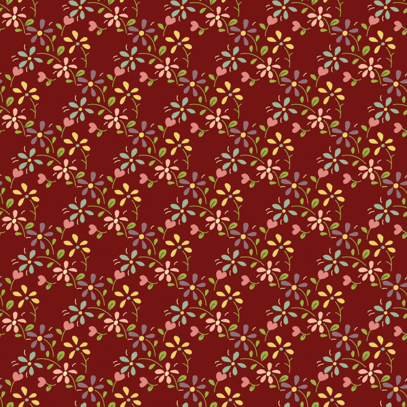 Q29 EQP TH -stof - Cranberry red- Summer Meadow