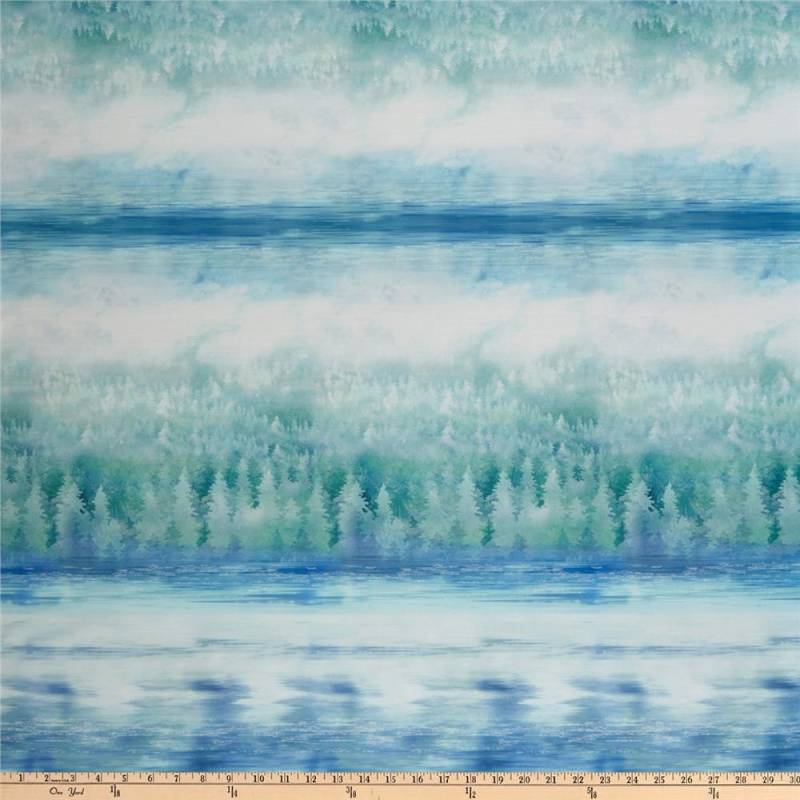 Q706 - stof Hoffman Digital Painted Forest Ombre Earth Fabric