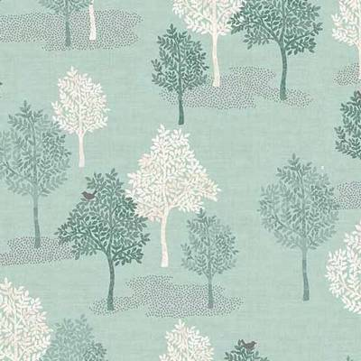 "Q637 - stof trees turquoise ""Woodland"" - by Makower"