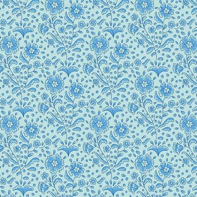 T25 - stof mila teal blue serie The Bird Pond Collection by Tilda