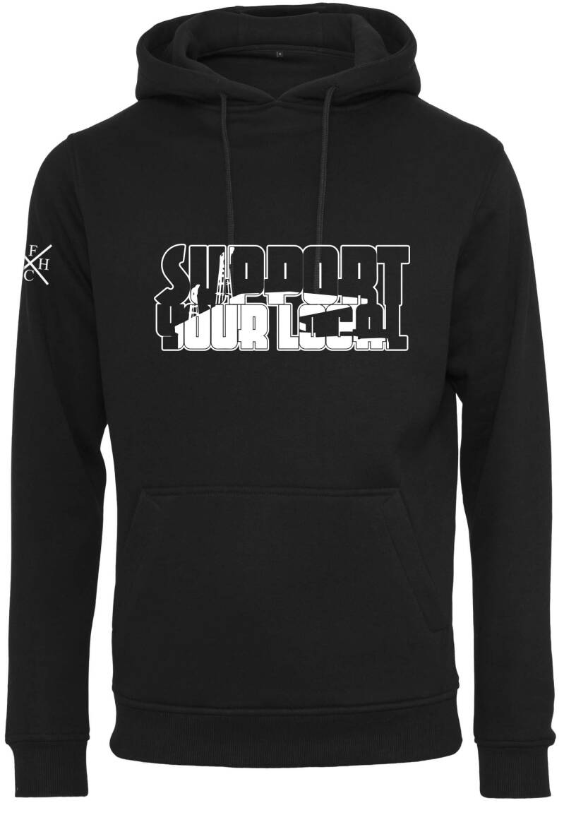 Hoodie Support Your Local zwart/wit