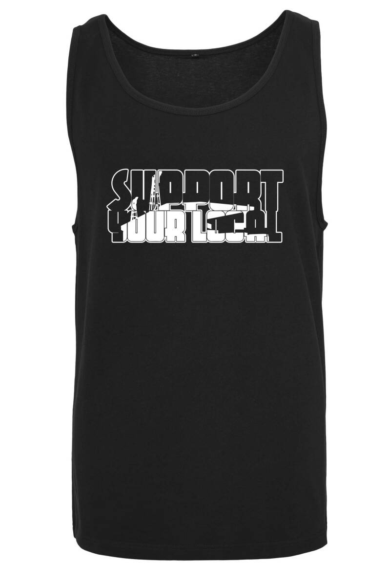 Tanktop Support your Local zwart/wit