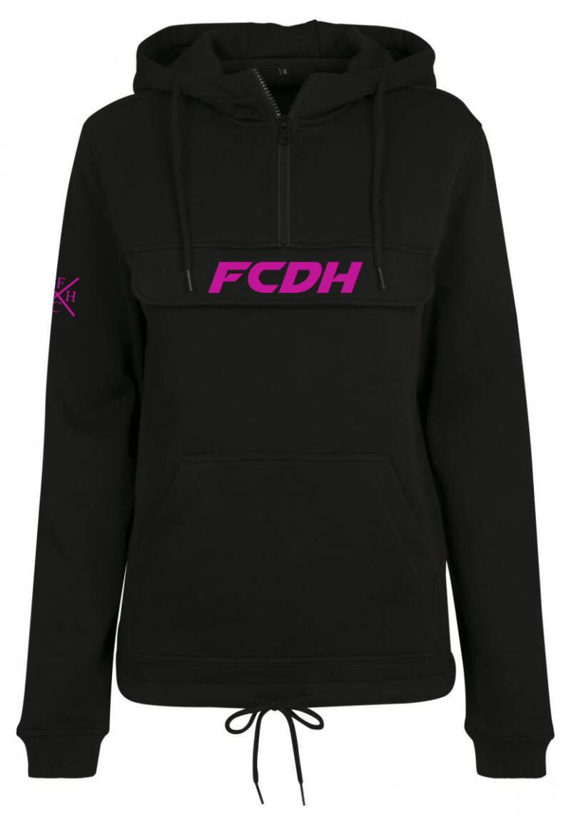 Dames hoodie pull over fcdh neon roze