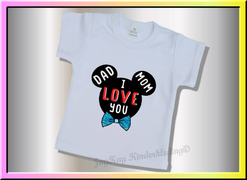 "T-shirt met een Mickey silhouet  ""mom dad i love you""         (B028)"