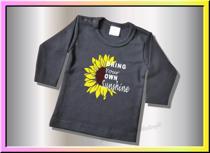 Zwarte longsleeve, bring your own sunshine                  (B031)