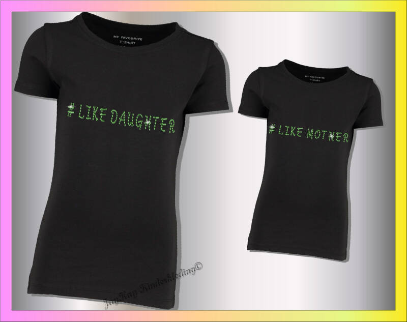 Strass steentjes T-shirt set,  like mother/like daugther  S0025