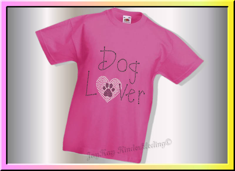 Strass steenjes  T-shirt...Dog lover....S0037