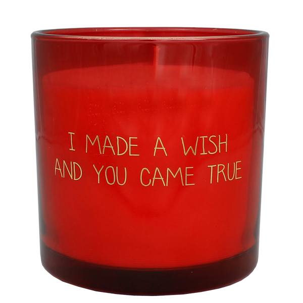 Geurkaars met tekst I MADE A WISH AND YOU CAME TRUE - GEUR: UNCONDITIONAL