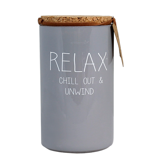 Geurkaars met tekst RELAX CHILL OUT AND UNWIND
