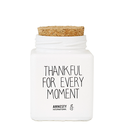 Geurkaars met tekst THANKFUL FOR EVERY MOMENT - GEUR: WARM CASHMERE