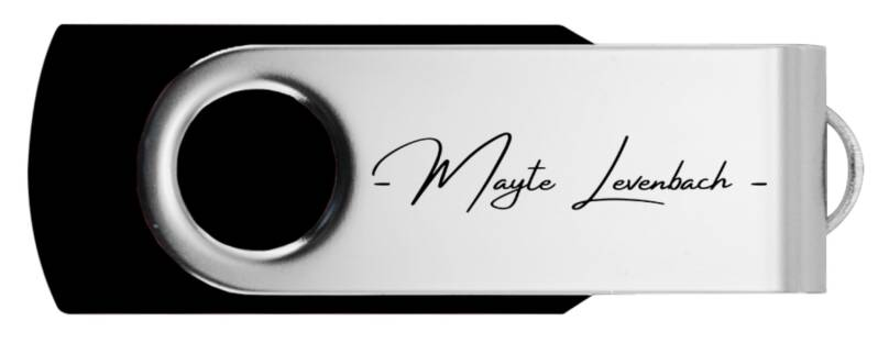 2GB USB stick with written logo | Mayte Levenbach