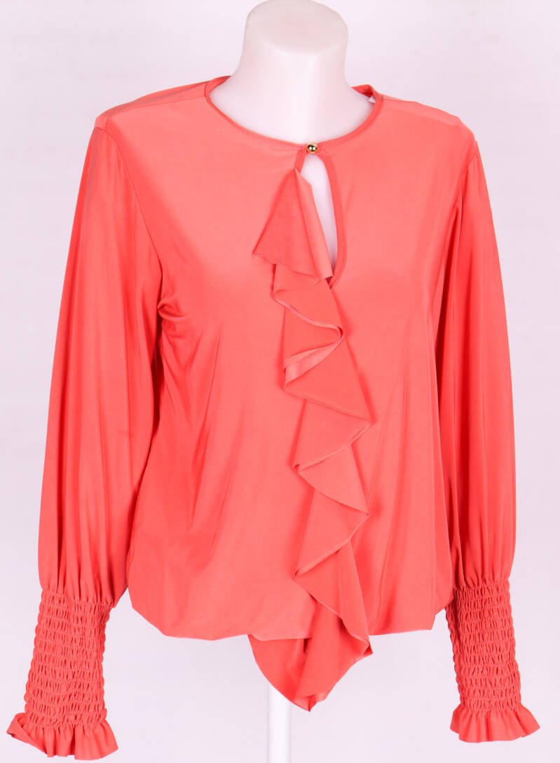 Blouse coral red met ruche
