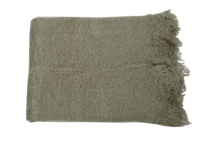 Mrs Bloom, Knitted Throw, Olive Grey