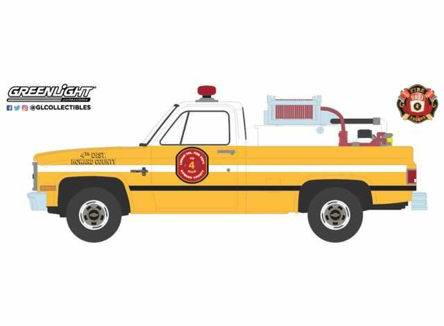 Greenlight - Chevrolet K20 1981 - Scottsdale Lisbon Volunteer Fire Department 4th District Howard County Maryland with Fire Equipment Hose and Tank