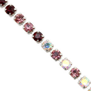 Cupchain Black, Rose, Crystal AB, Silver (3mm)