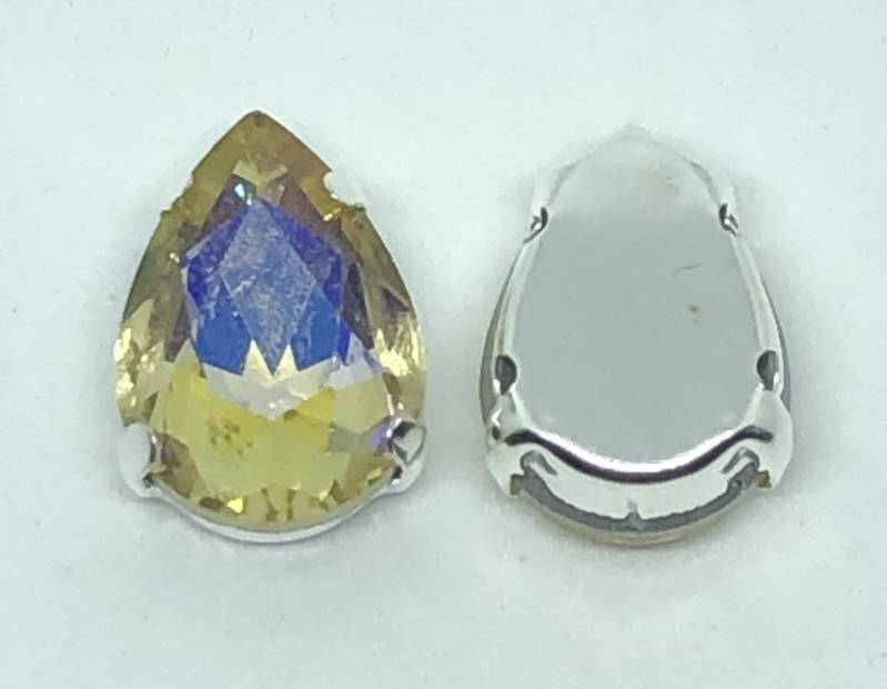 Glass Drop 14x10mm Jonquil AB