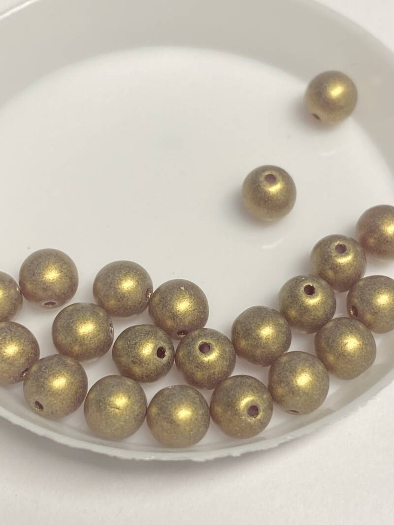Round Beads Glass 6mm Sueded Gold Amethyst