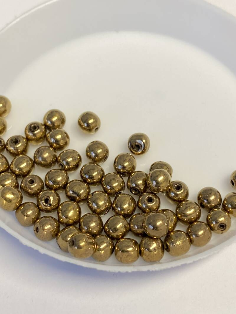 Round Beads Glass 4mm Jet Gold