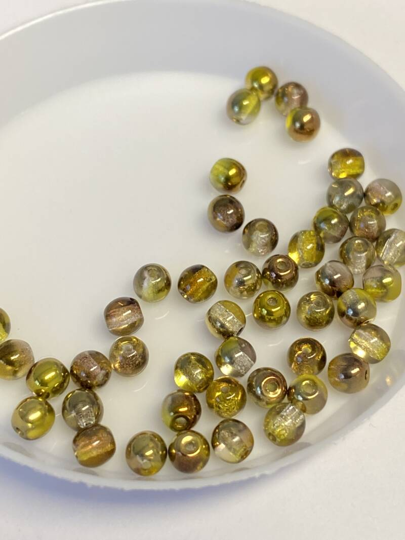 Round Beads Glass 4mm Sunny Magic Colors Copper