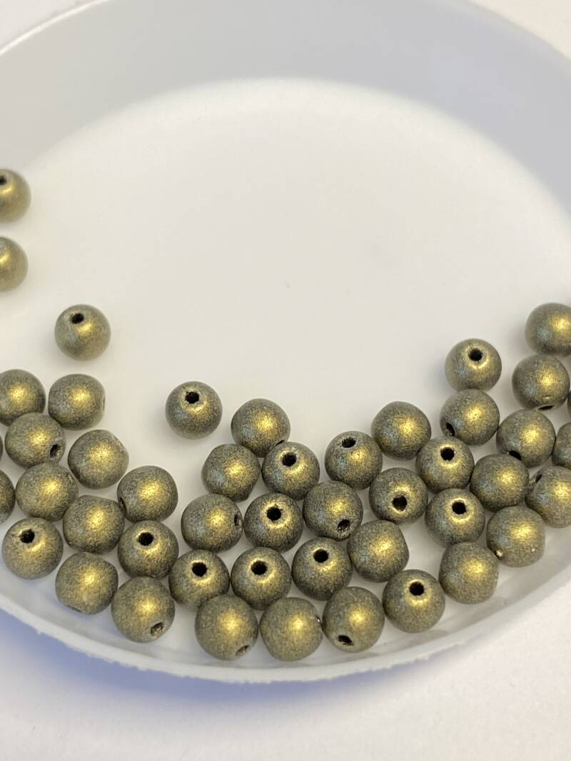 Round Beads Glass 4mm Metallic Suede Gold