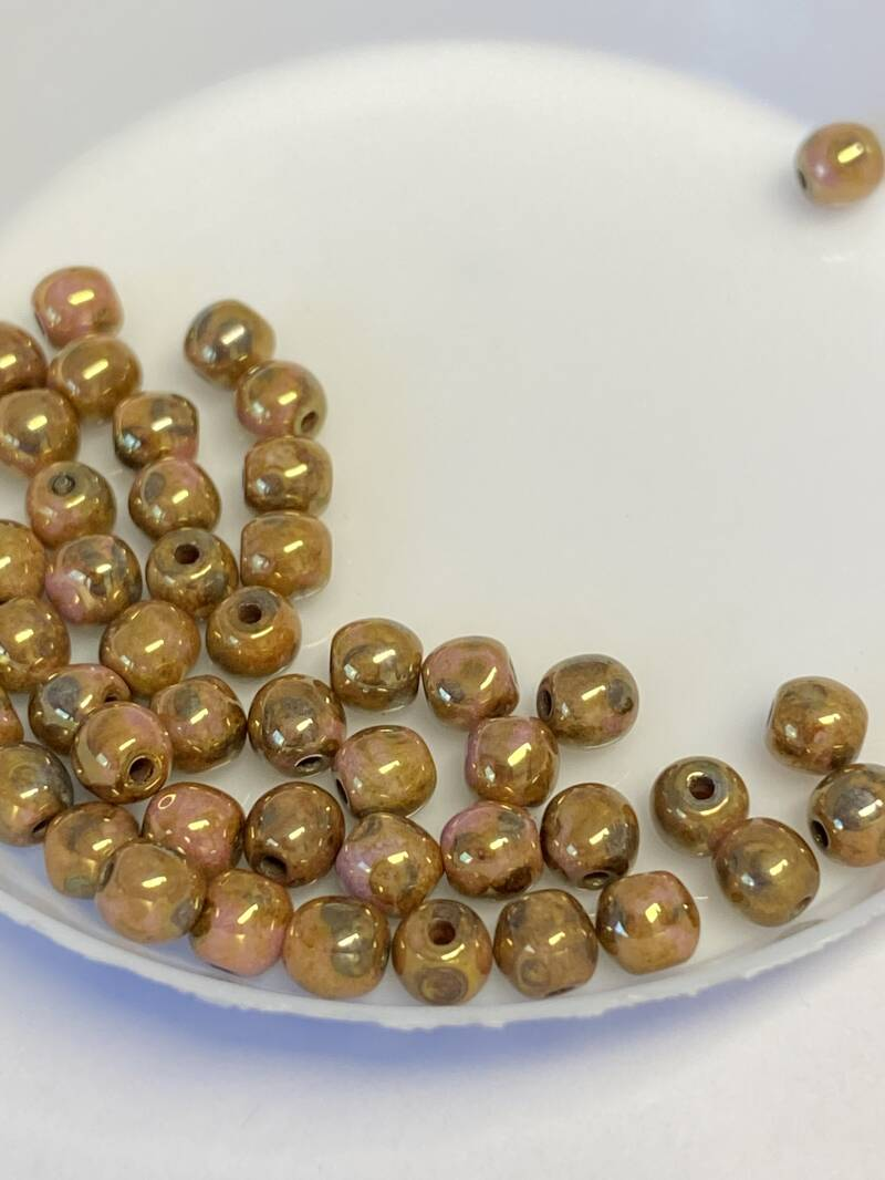 Round Beads Glass 4mm Gold Luster